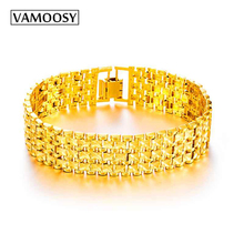 ФОТО vamoosy unique cuban chain link bracelets bangles punk male 24k gold color copper shiny wide bracelet for men jewelry pulseras