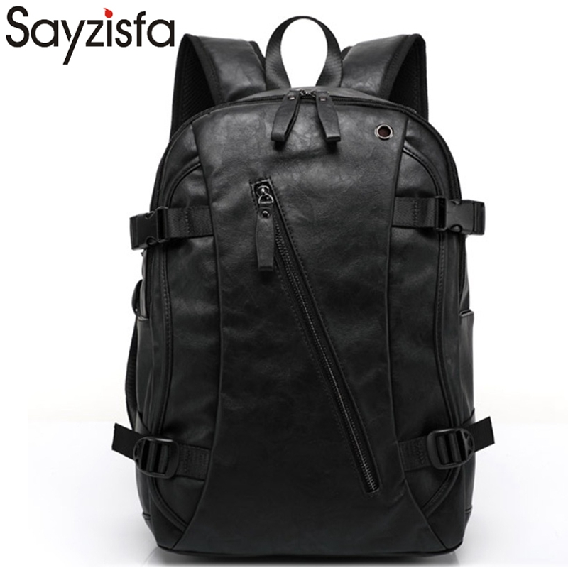 Sayzisfa 2017 Men's Backpacks male Rucksack Leather Mochila Backpack man Travel mochila Bagpack for teenage school bagpack T53 ecocity mochila bp0033