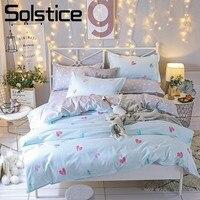 Solstice Thuis Textiel 3/4 Stks Beddengoed Sets Dekbedovertrek Kussensloop Bed vel Meisje Zoete Hart Beddengoed Koning Koningin Volledige Twin Size