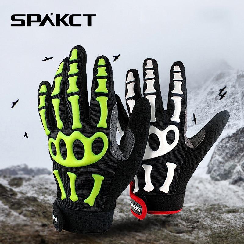 SPAKCT Bike Bicycle Long Full Finger Cycling Riding Racing Bike Bone Cool Soft Gloves Skeleton Cycling Bicycle Bike Equipment