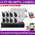 8CH CCTV Sistema 8 PCS 800TVL HD À Prova de Intempéries de Vigilância de Vídeo Da Câmera 24Led Dia/Noite 8CH HDMI Segurança DVR Set 1 TB HDD