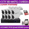 8CH CCTV System 8PCS HD 800TVL Weatherproof Video Surveillance Camera 24Led Day/Night 8CH HDMI DVR Security Set 1TB HDD