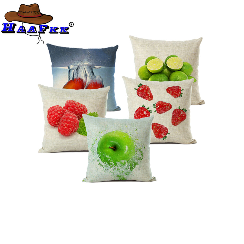 Home Textile Popular Fruit Cushion Covers Tropical Watermelon Strawberry Throw Pillow Cases Happy Camper Decor Dining Chair Pillowcase Complete In Specifications Home & Garden