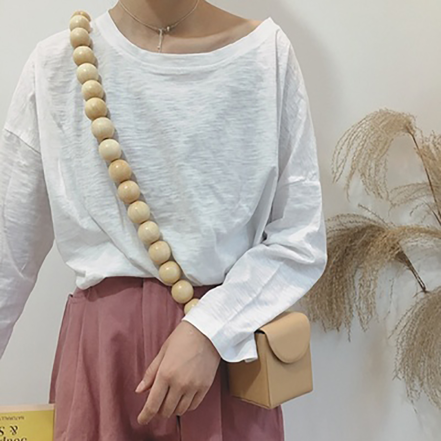 Women Handbag Hot small Bag Woven Bamboo Bag Beach Straw Shoulder Bags For Women Wood Round Beach Bags Beaded pu leather in Top Handle Bags from Luggage Bags