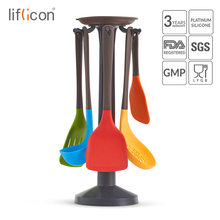liflicon Silicone kitchen cookware utensils 5 pcs Nonstick tools with spatula turner ladle skimmer rice paddle for cooking
