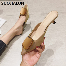 2019 New Outdoor Casual Mules Women Shoes Ladies Pointed Toe Crystal Shoes Fashion Footwear High Heels Mules Party Slides wetkiss pleuche thick heels ladies slippers metal decoration slides pointed toe footwear summer fashion casual women mules shoes