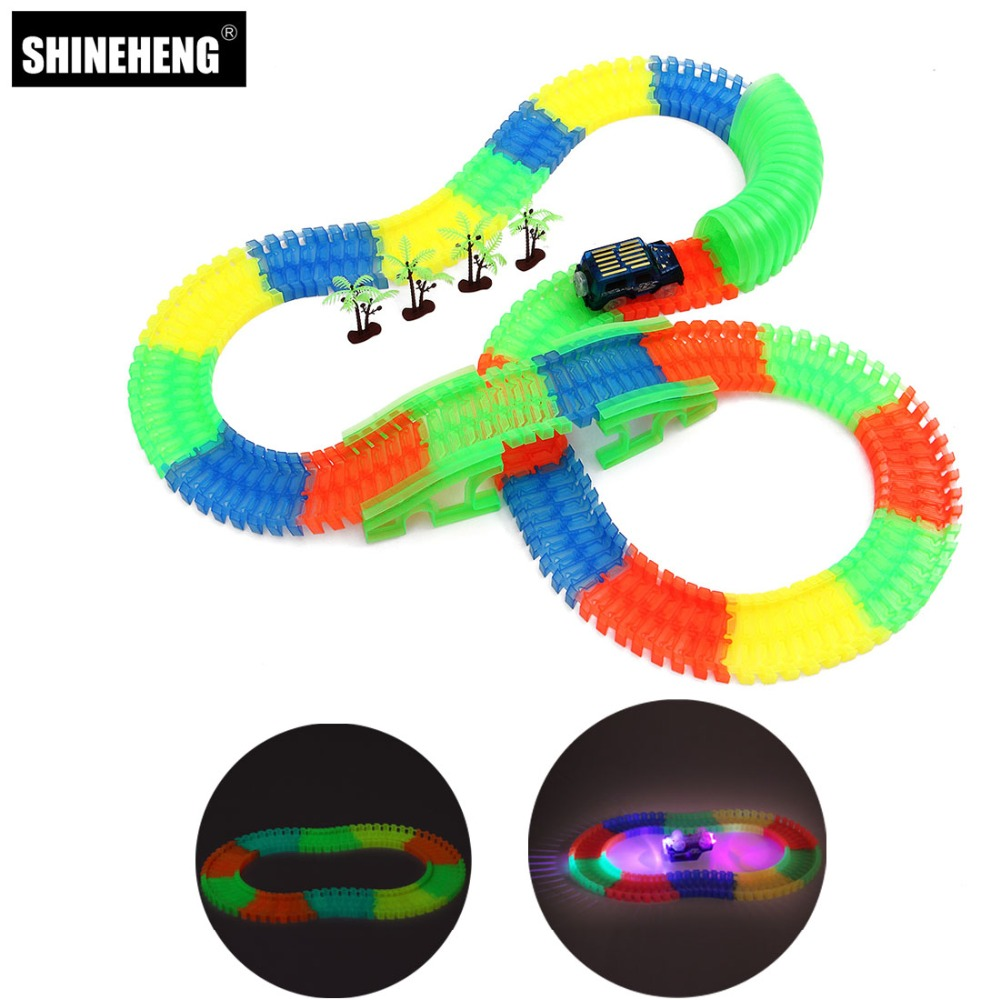 Shineheng Glow Race Track Set Bend Flexible Flash in the Dark Assembly Led Car Toy Stunt Railway Track Car Toy Gift for Boy