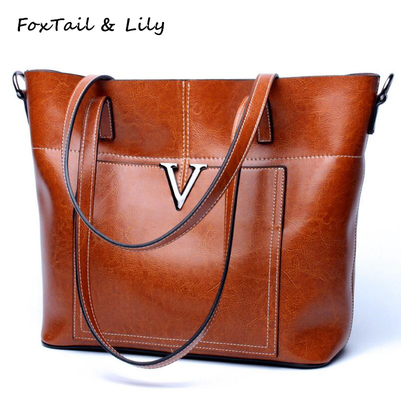 FoxTail & Lily Genuine Leather Shoulder Bag Women Large Capacity Handbags Tote Crossbody Bags Messenger Fashion Famous Designer цены онлайн