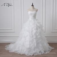 2016 In Stock Corset Wedding Dresses Ivory White Robe De Mariee Organza Beaded Ruffled Plus Size