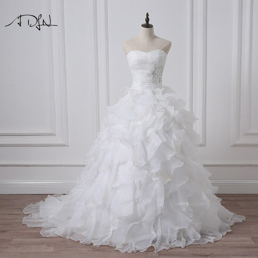 Cheap Plus Size Wedding Dress 2017 Beaded Strapless Bodice: ADLN 2017 Stock Corset Wedding Dresses Ivory White Robe De
