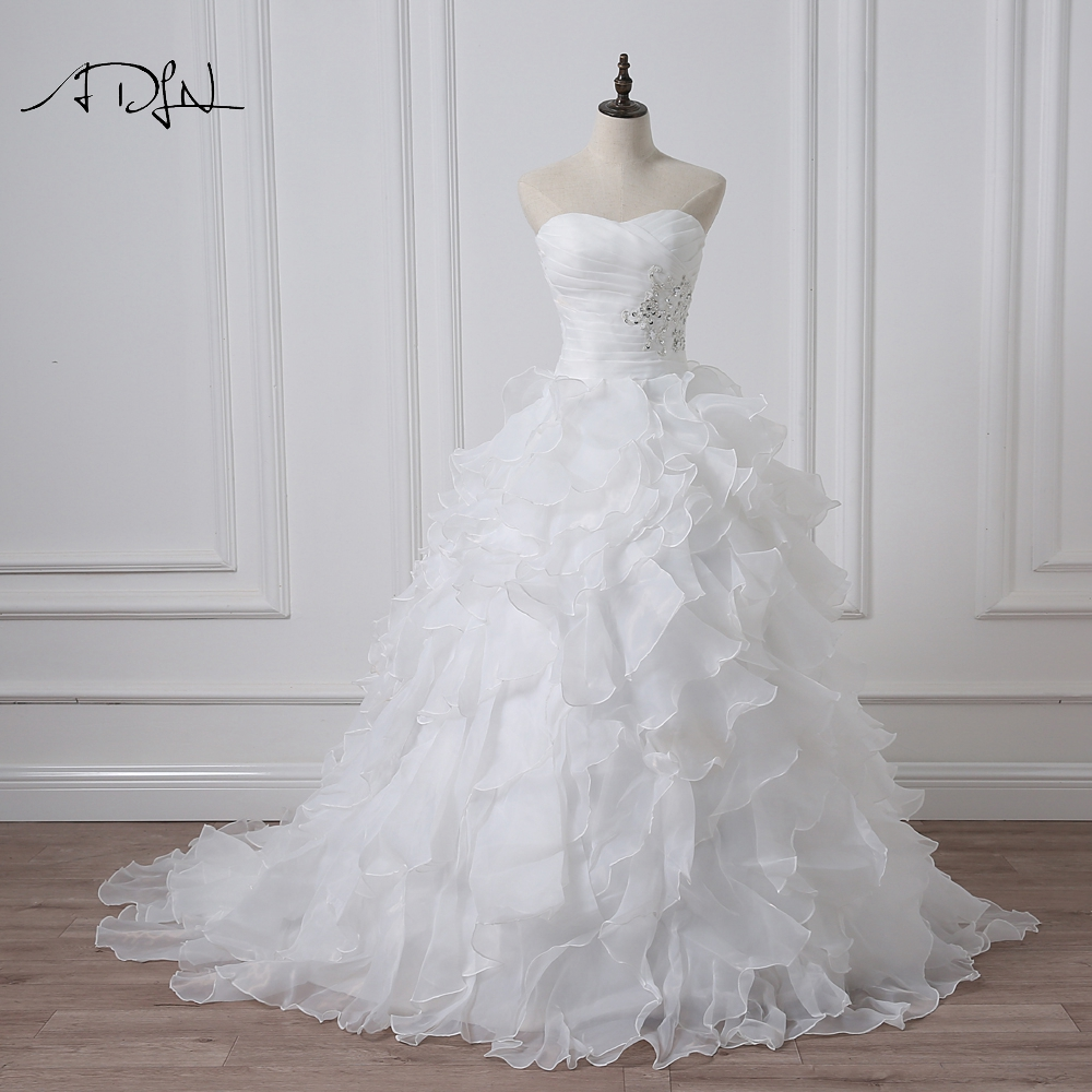ADLN 2019 Stock Corset Wedding Dresses Ivory White Robe De Mariee Princess Organza Beaded Ruffle Plus Size Ball Gow Bridal Gown