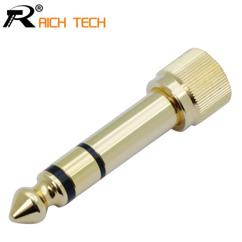 1PC Gold-plated Adapter Jack 6.35mm 3pole Stereo Male Plug With Inside Screw To 3.5mm Jack Stereo Female Socket Converter