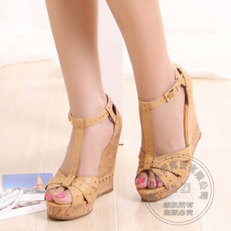 Leisure Cute Wedge Shoes For font b Women b font Fish Mouth Shoes High Heels Ladies