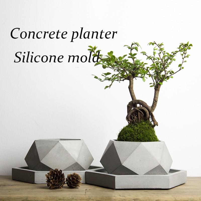 Big size 40 18 2cm polygon vase concrete planter mold handmade craft home decoration geometry cement