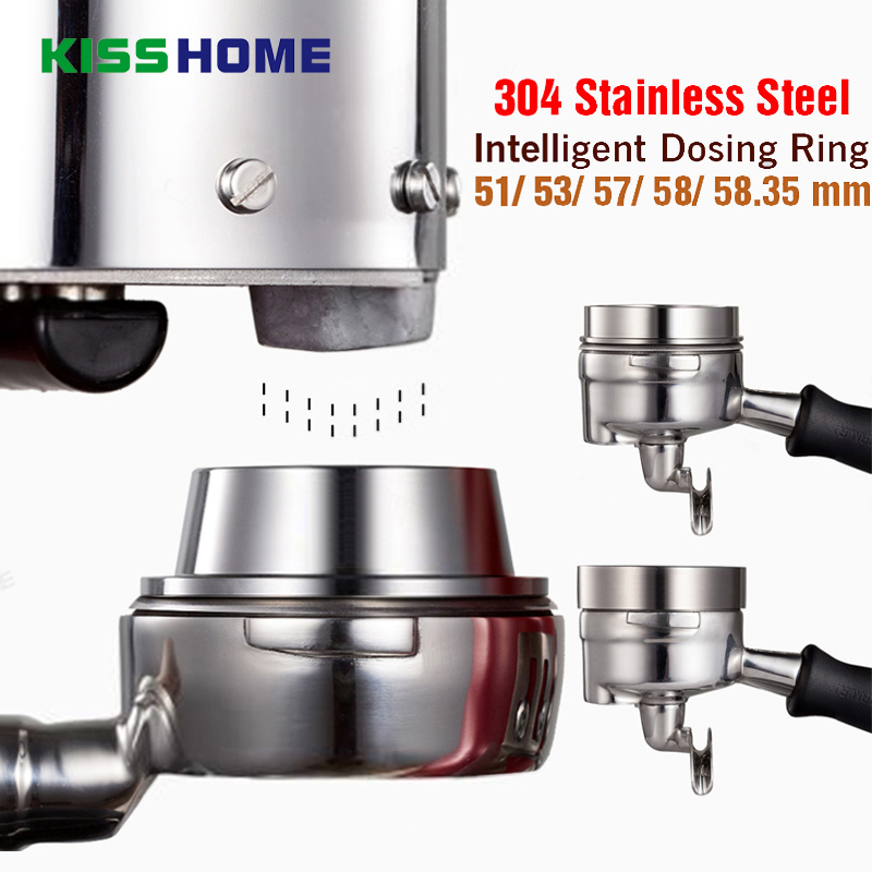Coffee Intelligent Dosing Ring Espresso Barista 304 Stainless Steel 51/53/57.5/58/58.35mm Anti-fly Powder Universal Coffee Tools