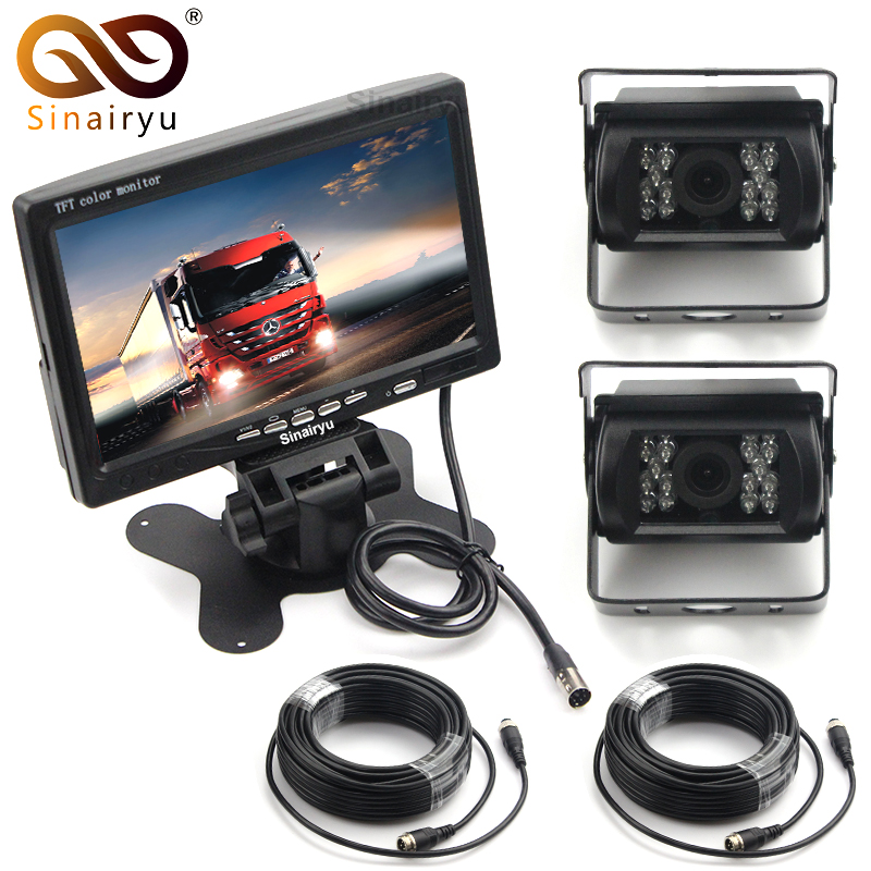 Sinairyu 12-24V 7 Inch LCD Car TFT Monitor Parking Assistance + 2 Sets 4 Pin Night Vision CCD Rear View Camera For Bus Van Truck все цены
