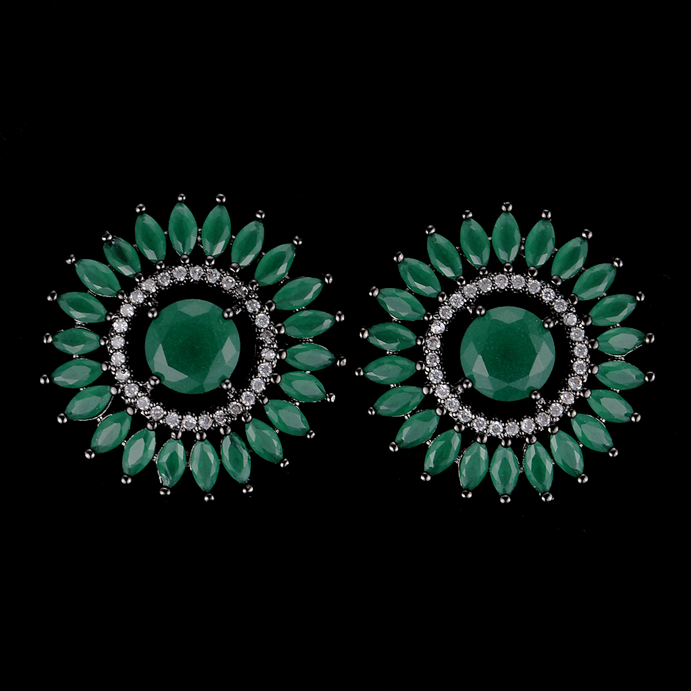 SISCATHY Trendy Women Earrings Unique Sunflower Hollow Full CZ Stud Luxury Bridal Engagement Jewelry