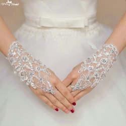 Ta137 Кружево аппликация с пайетками Роскошные Кристалл пальцев Прихватки для мангала Свадебные перчатки