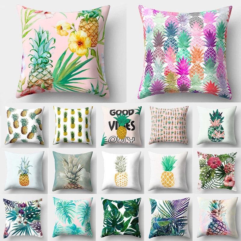 Pineapple Tropical Pattern Polyester Throw Pillow Cushion Cover Car Home Decor Decoration Sofa Bed Decorative Pillowcase 40509