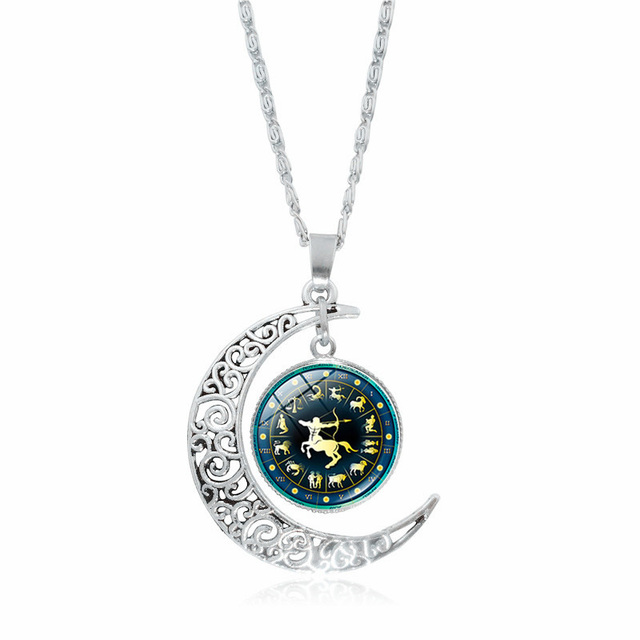 Xushui xj 12 constellation necklace women jewelry silver crescent xushui xj 12 constellation necklace women jewelry silver crescent moon pendant glass cabochon necklace family friend aloadofball Gallery