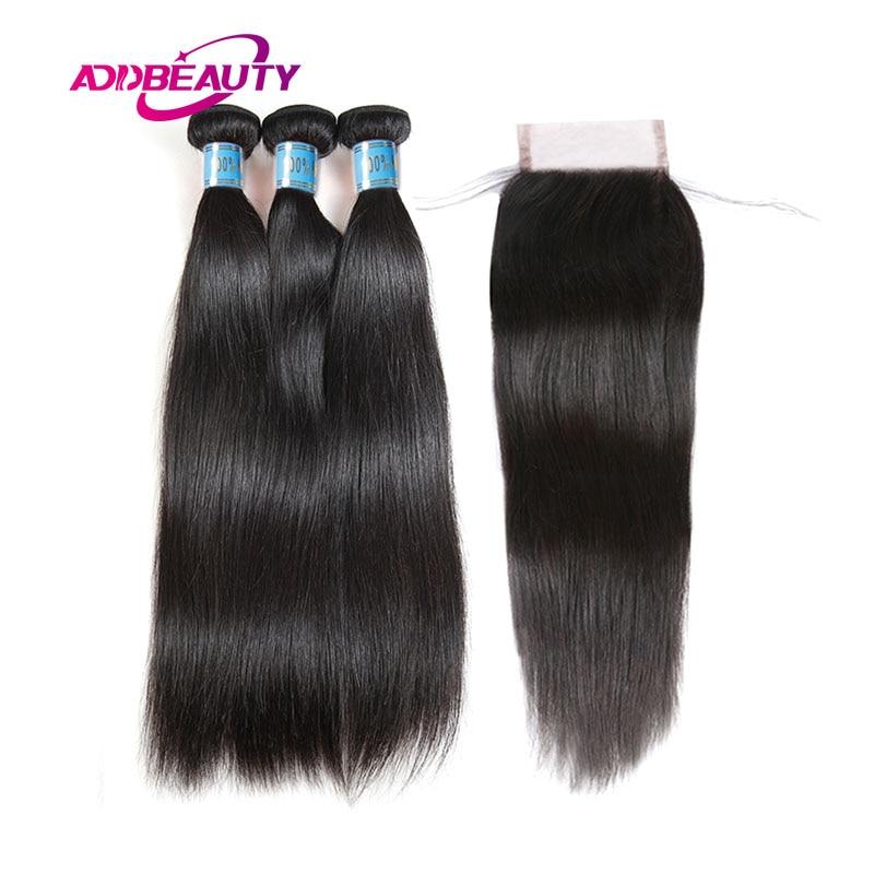 Human Peruvian Virgin Straight Hair 3 Bundles With Closure Free Part Pre Plucked Baby 4x4 Swiss
