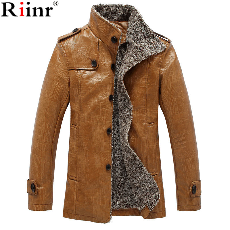 Riinr 2017 Fashion New Arrival Leather Jacket Men Coats Brand High Quality PU Outerwear Men Business Winter Faux Fur Male Jacket