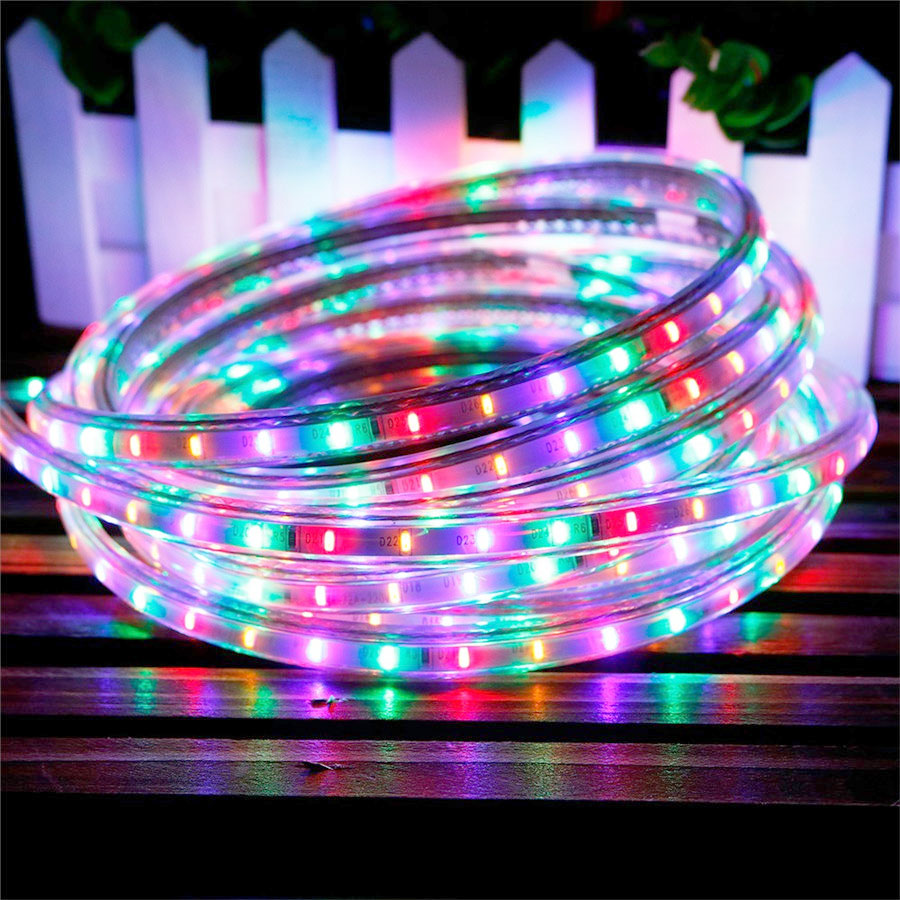 the best attitude e3e15 cfafb US $4.66 12% OFF|IP65 AC220V Led Strip 3014 SMD Multicolor 72 LED/M RGB  Waterproof Flexible LED Tape light AC220V 1M 2M 5M 10M Outdoor Garden-in  LED ...
