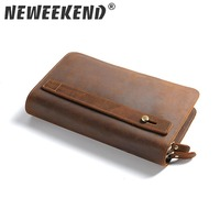 Double Zipper Money Clip Wallet Clutch Bag Men's Purses Genuine Leather Men Wallets Leather Man Wallet Long Male Purse SF027