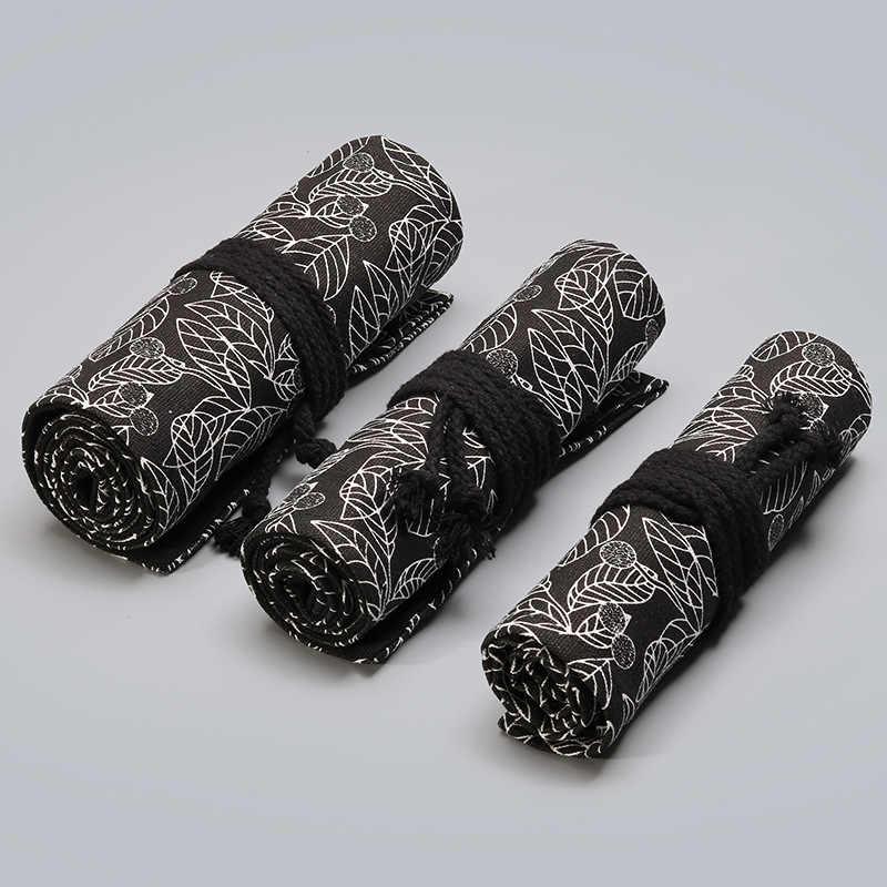ผ้าใบโรงเรียนดินสอ 12/24/36/48/72 หลุมม้วน Pencilcase ขนาดใหญ่น่ารัก Leaf Penal สำหรับหญิงชายปากกากระเป๋าเครื่องเขียนกระเป๋า