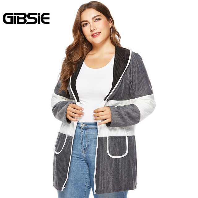 1145c9f8dcdf1 GIBSIE Plus Size Women Clothing Autumn Winter Hooded Long Sleeve Cardigan  Coat 4XL Women Contrast Color Open Front Outerwear
