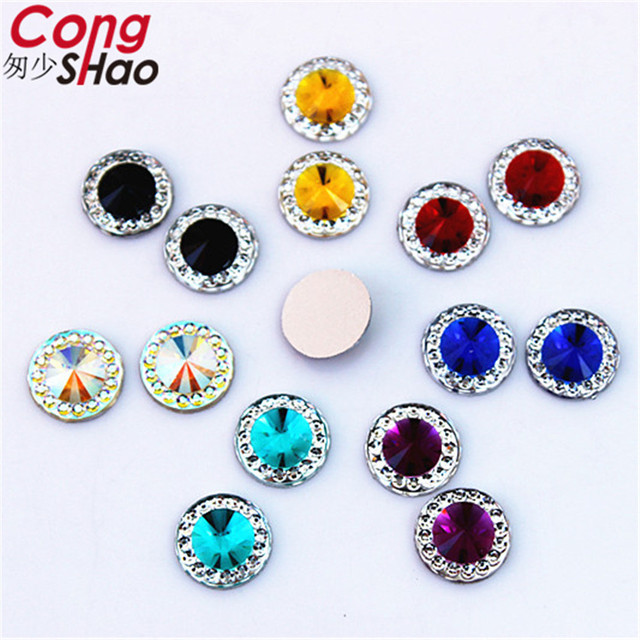 Cong Shao 300PCS 10mm Round Flat Back Resin rhinestone applique Strass  Crystals Stones Gems For DIY Costume Button Crafts CS617 88c226c495bd