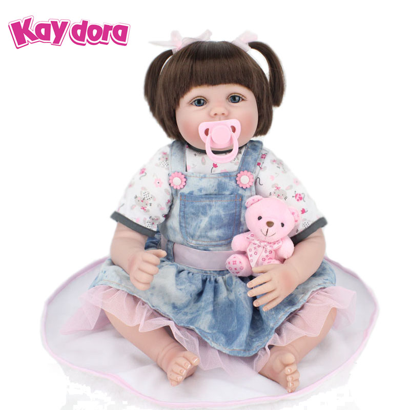 KAYDORA 22 inch 55cm Silicone Reborn Baby Dolls Alive Lifelike Real Dolls Brown Wig Realistic Reborn Babies Princess Girl Toys