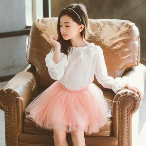 Image 3 - 2020 printemps automne mousseline de soie dentelle bébé enfant en bas âge filles Blouse blanc vêtements enfants à manches longues école fille chemise enfants hauts JW4497A