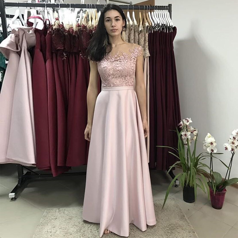 Blush Pink Long   Prom     Dresses   Scoop Neck Cap Sleeves A-line Satin Appliques Women Formal Party   Dress   Special Occasion Gowns