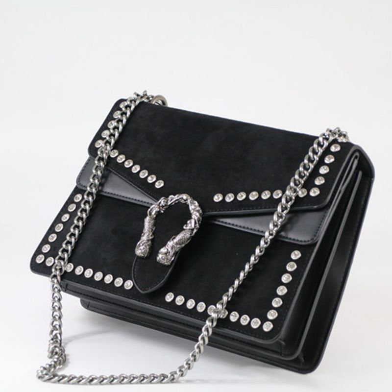 Fashion Rivet Chain Women Casual Shoulder Bag Messenger Bag Retro Female Big Bag Handbag Ladies Flap