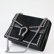 Fashion Rivet Chain Women Casual Shoulder Bag Messenger Bag Retro Female Big Bag\Handbag Ladies' Flap Motorcycle bag 123101 rivet detail flap handbag