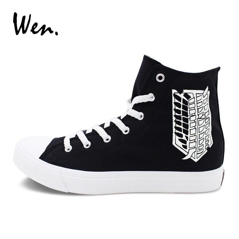 2b8dc4c1 Wen Black Sneakers Hand Painted Shoes Men Women Anime Design Attack ...