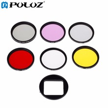7 in 1 52mm ND2 + UV +FLD + CPL + Red + Yellow Lens Filter & Filter Adapter Ring for GoPro HERO4/3+