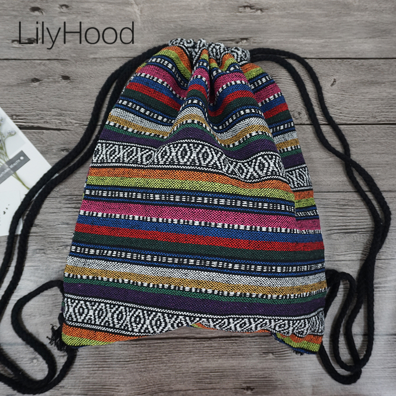 Female Vintage Backpack Gypsy Bohemian Hippie Tribal Ethnic Retro Folk Boho Knitting Woven Femanine Drawstring Sack Bag