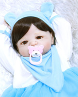 22 inches Doll Reborn Full Silicone Bebe Girl Blue/brown Eyes Child Birthday Gift Realistic Adorable Babies Born Dolls
