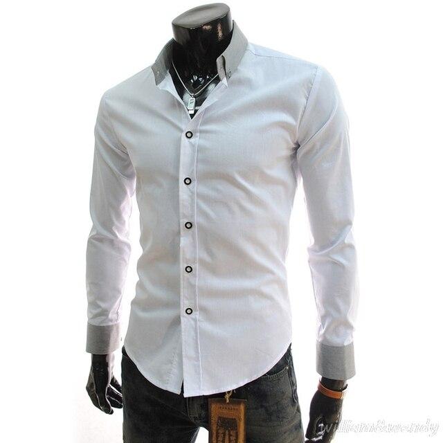 Moda 2018 Camisa de Los Hombres Negro Camisa Blanca de