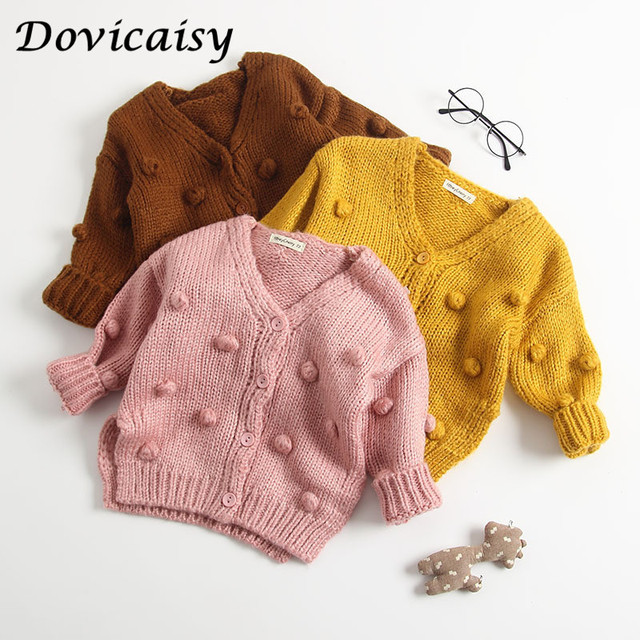 4898a78746f5 Autumn Winter Baby Girls Knitted Cardigan Sweater Jacket Polka Dot Bubble  Children s Outerwear kids winter clothes