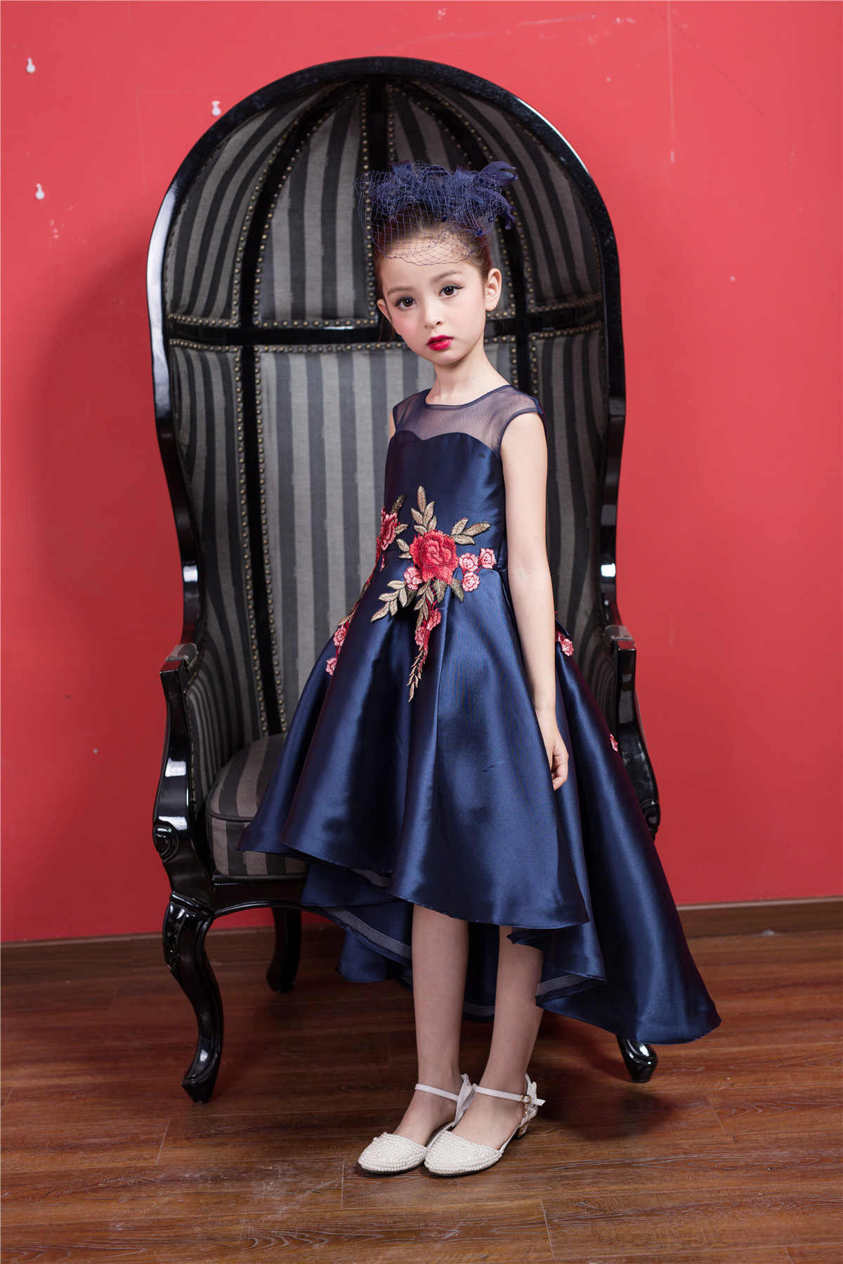 625122ce7d23a Navy Blue Short Front Formal Girl Dress Christmas Kid Party Vestido of 3 4  6 8 10 12 Year Old 2019 Child Girls Clothes RKF174036