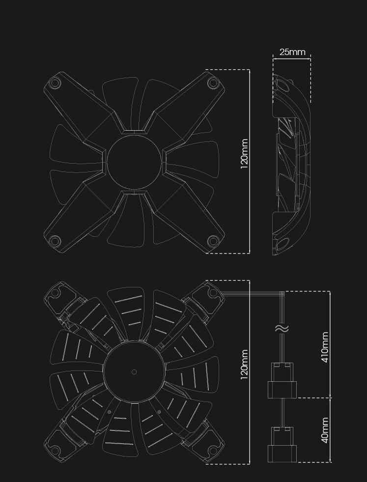Aigo darkflash 12 V PC Computer Fan Stille Kühlkörper Kühler Anti-Vibration Gummi 120mm fan LED Kühler lager 11 Klingen