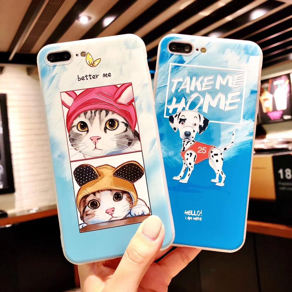 For iPhone7plus Lovely Dog Cats Embossed Print Matte Printed TPU Soft Back Phone Cover For iPhoneX 8 6s Body Shell Protection