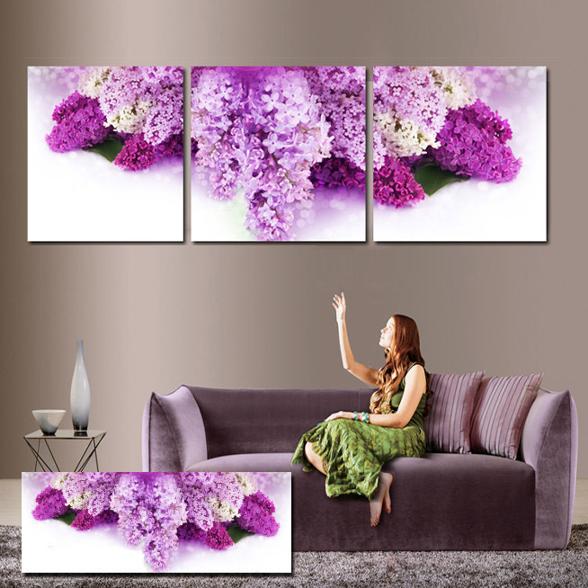 3 Piece Wall Paintings Purple Hyacinth Art Decorative Pictures