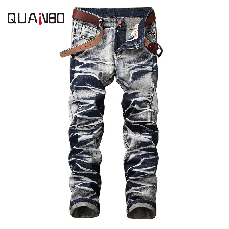 QUANBO Brand   Jeans   Retro Nostalgia Straight Denim   Jeans   European and American Style Fashion Pleated Casual Long Pants 29-42