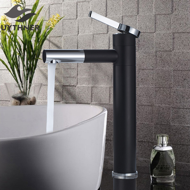 Chrome Polished Bathroom Waterfall Spout Basin Faucet Single Handle Mixer Tap Deck Mounted