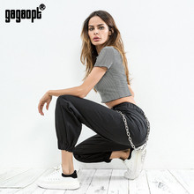 Gagaopt Streetwear Pants Women 95% Cotton Waist Chain Decoration Elastic Feet Khaki Cargo Pants Zipper Trousers