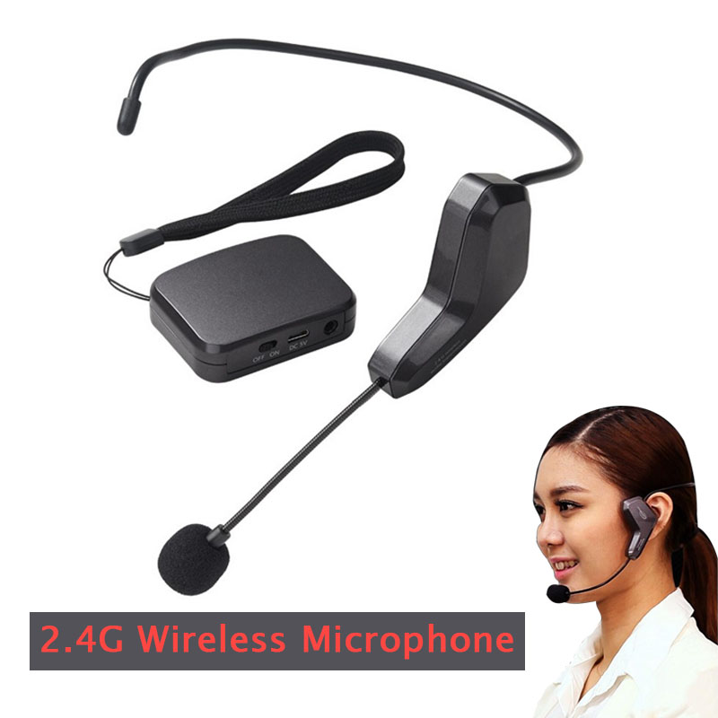 Headset Microphone 2 4G Wireless Speech Megaphone Radio Mic for Meeting Customer Service Loudspeaker Teaching Tour